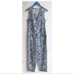 Anthro Leifnotes Blue Toile Sleeveless Jumpsuit